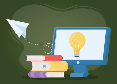 online education, computer idea books and paper plane