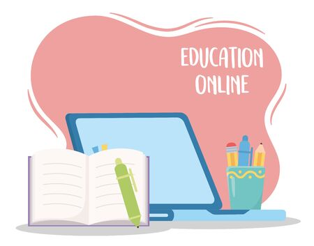 education online, laptop open book pen and stationery objects Illustration