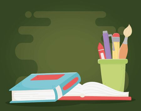 online education, books and stationery supplies school 向量圖像