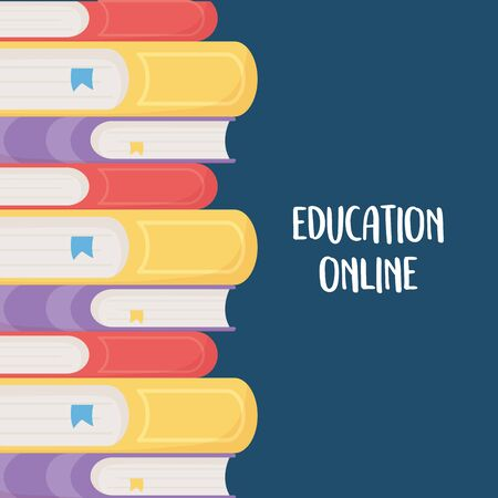 online education, stacked books different literarture