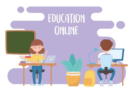 education online, teacher and student virtual class with laptop