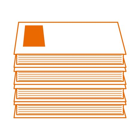 pile of books literature knowledge home education vector illustration line color style icon