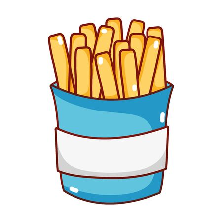 fast food french fries in box cartoon isolated icon
