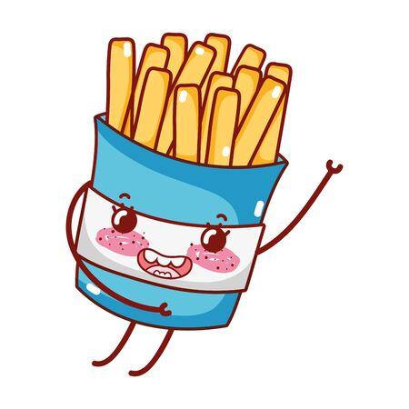 french fries fast food cute kawaii cartoon isolated icon