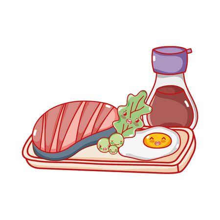 kawaii fish sake and fried egg food japanese cartoon, sushi and rolls
