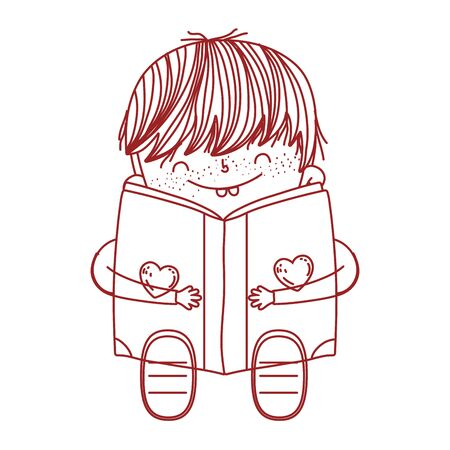book day, cute boy sitting reading book isolated design vector illustration line style