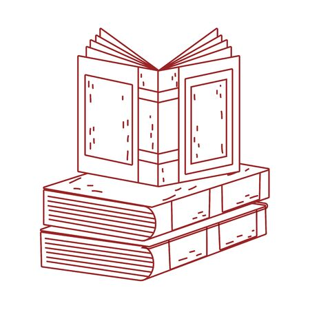 book day, open textbook on books stack isolated icon design line style