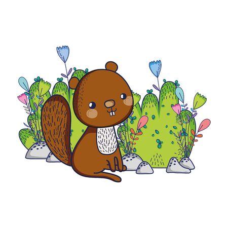 cute animals, squirrel flowers foliage bush nature