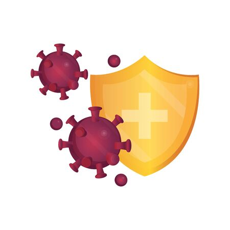medical shield protection virus pandemic stop coronavirus covid 19 vector illustration