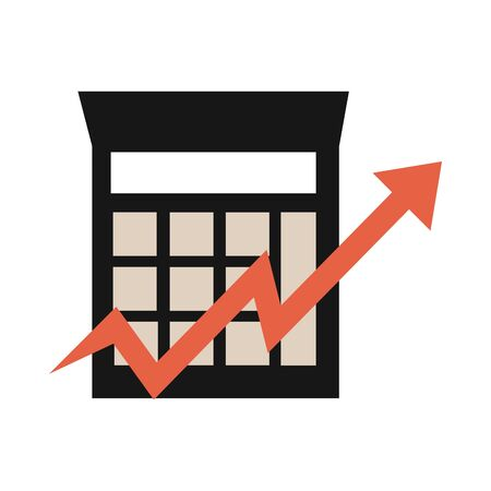 calculator chart up arrow market, rising food prices, flat style icon vector illustration