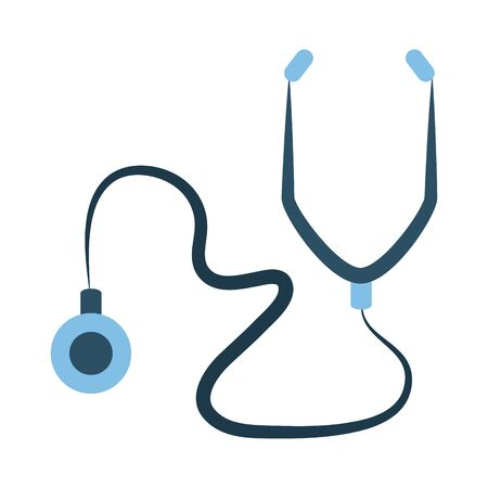 online doctor, stethoscope diagnostic consultant medical protection covid 19 vector illustration, flat style icon