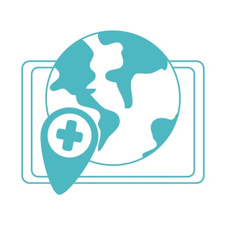 online doctor, world tablet computer consultant medical covid 19, line style icon