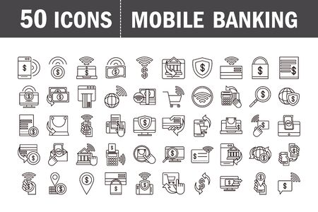 mobile banking shopping or payment market online, ecommerce icons set line and fill line style icon