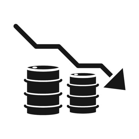 barrels down arrow trade crisis economy, oil price crash silhouette style icon
