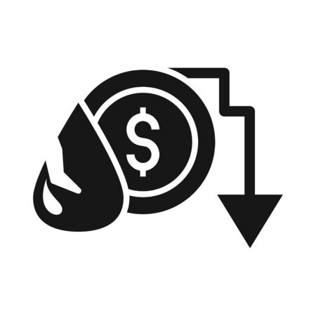 drop money downward arrow trade crisis economy, oil price crash silhouette style icon