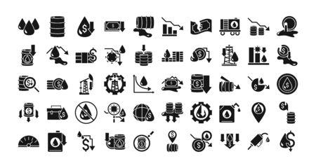 oil price crash crisis economy business financial icons set silhouette style icon