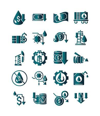 oil price crash crisis economy business financial icons set gradient style
