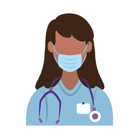 online doctor, female doctor with mask and stethoscope consultant medical protection covid 19, flat style icon