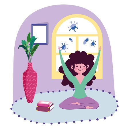 stay at home, young girl practicing yoga in carpet room cartoon Vettoriali