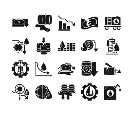 oil price crash trade crisis economy business financial icons set vector illustration silhouette style icon