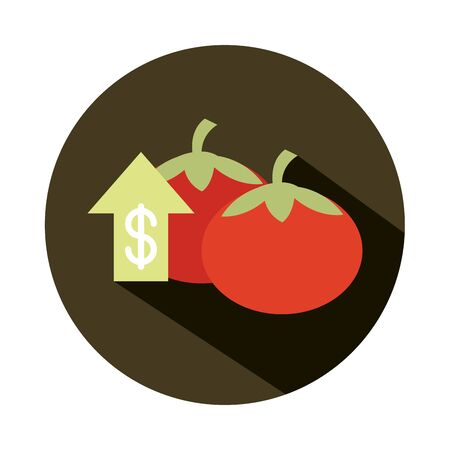 vegetables fresh tomatoes money market, rising food prices, block style icon
