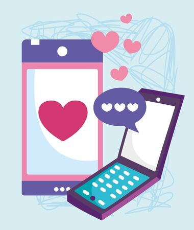 smartphone devices technology chat love speech bubble vector illustration