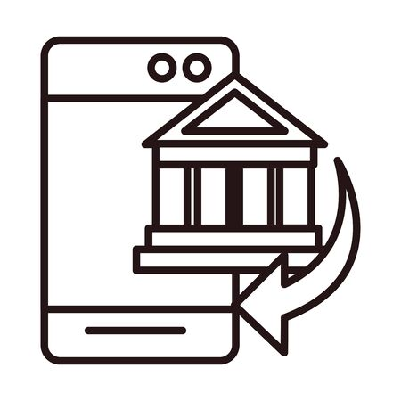smartphone bank transaction shopping or payment mobile banking line style icon