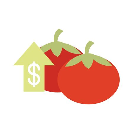 vegetables fresh tomatoes money market, rising food prices, flat style icon vector illustration