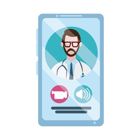online doctor, physician smartphone video call consultant medical protection covid 19, flat style icon 向量圖像