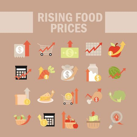 rising food prices, market commerce economy crisis icons set vector illustration flat style icon