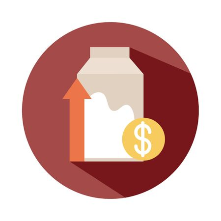 milk box money cost economy, rising food prices, block style icon vector illustration Illustration