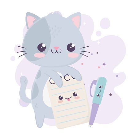 cute little cat with notepad and pen kawaii cartoon character vector illustration
