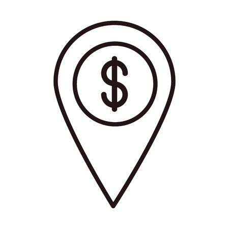 pointer location bank shopping or payment mobile banking line style icon