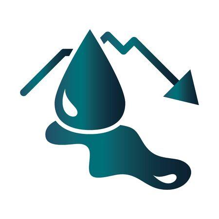 down arrow spilled petroleum trade crisis economy, oil price crash vector illustration gradient style icon