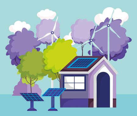 house solar panels turbine wind trees nature energy eco vector illustration