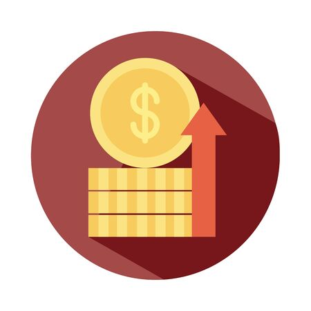 stack of coins money growing up arrow, rising food prices, block style icon vector illustration