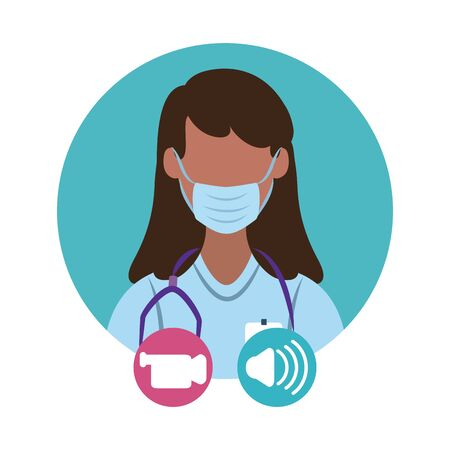 online doctor, female physician video consultant medical protection covid 19 vector illustration, flat style icon