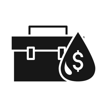 money drop business portfolio trade crisis economy, oil price crash vector illustration silhouette style icon