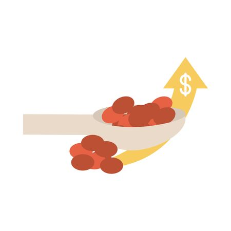beans in spoon retail sale market up arrow, rising food prices, flat style icon vector illustration 向量圖像
