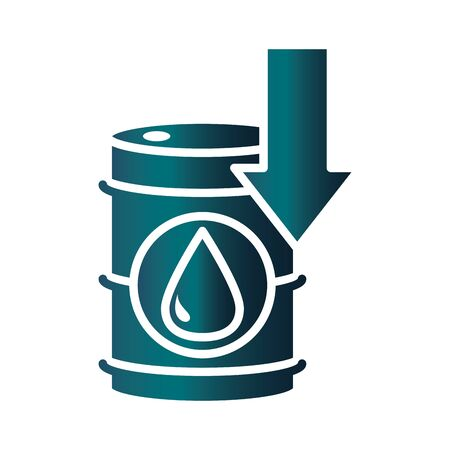 downward barrel product trade crisis economy, oil price crash vector illustration gradient style icon