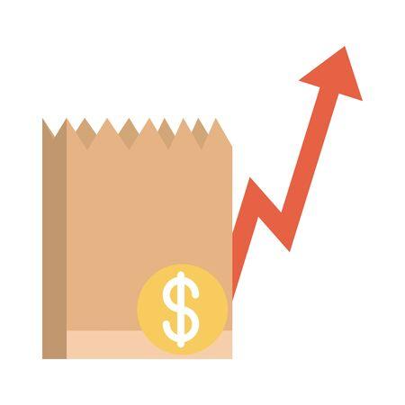 grocery bag money going up arrow, rising food prices, flat style icon Vektorgrafik