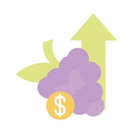 bunch grapes fruits demand money up arrow, rising food prices, flat style icon