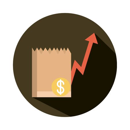 grocery bag money going up arrow, rising food prices, block style icon