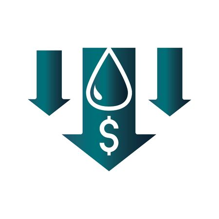 statistics downturn money trade crisis economy, oil price crash vector illustration gradient style icon