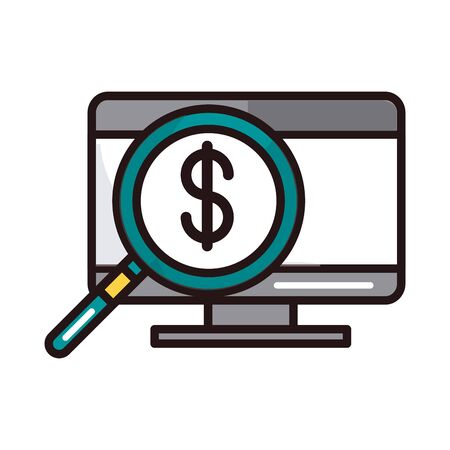 computer money magnifier analysis shopping or payment mobile banking vector illustration line and fill icon Banque d'images - 144117871