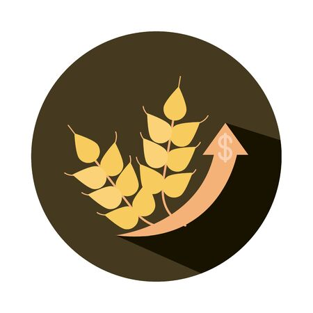 wheat agriculture product money up arrow, rising food prices, block style icon vector illustration