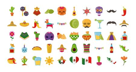 cinco de mayo mexican celebration festive party national icons set vector illustration flat style icon