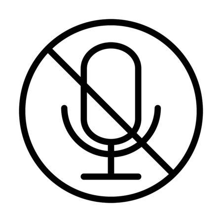 icône de style de ligne de son audio en sourdine du microphone