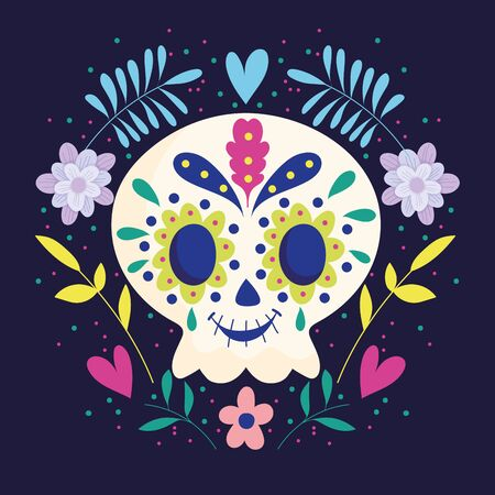 day of the dead, skull with wreath of flowers traditional mexican celebration Illustration