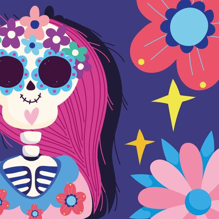 day of the dead, catrina with flowers decoration traditional mexican celebration Illustration